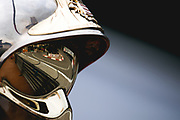May 23-27, 2018: Monaco Grand Prix. Fairmont hairpin reflected in a Monaco marshals helmet