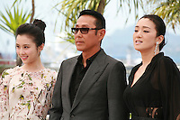 Daoming Chen, Huiwen Zhang and Li Gong at the photo call for the film Coming Home at the 67th Cannes Film Festival, Tuesday 20th May 2014, Cannes, France.