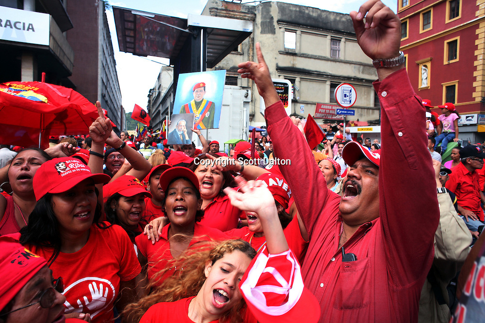 Supporters of President Hugo Chavez cheer his re-election on the streets of downtown Caracas on Tuesday, December 5, 2006. (Photo/Scott Dalton)
