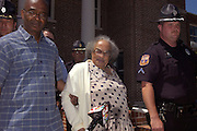 Mother of murdered civil rights worker James Chaney died Wed. May 22,2007. Fannie Chaney, center, mother of slain civil rights worker James Chaney is lead from the court room after testimony in the Edgar Ray Killen murder trial. Killen was convicted of killing James Chaney in 1964 in Neshoba County. (photo/Suzi Altman)