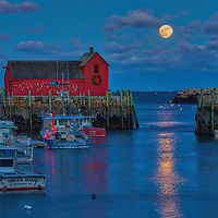 This New England photography image of Rockport Motif #1 with a rising full moon is available as museum quality photography prints, canvas prints, acrylic prints, wood prints or metal prints. Prints may be framed and matted to the individual liking and decorating needs: <br />