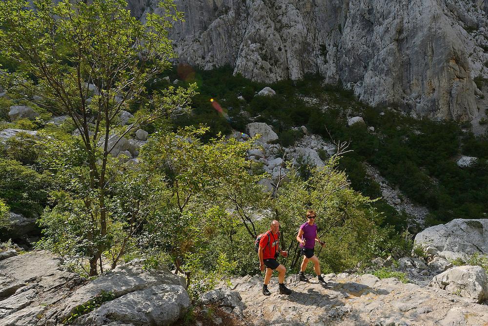 Hikers, Paklenica National Park, Velebit Nature Park, Rewilding Europe rewilding area, Velebit  mountains, Croatia