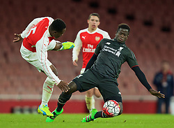 LONDON, ENGLAND - Friday, March 4, 2016: Liverpool's Toni Gomes in action against Arsenal during the FA Youth Cup 6th Round match at the Emirates Stadium. (Pic by Paul Marriott/Propaganda)
