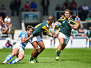 South Africa fly-half Immanuel Libbok feeds the ball to centre Franco Naude during the World Rugby U20 Championship 3rd Place play-off  match Argentina U20 -V- South Africa U20 at The AJ Bell Stadium, Salford, Greater Manchester, England on Saturday, June 25, 2016.(Steve Flynn/Image of Sport)