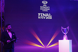 December 12, 2017 - Kiev, Ukraine - The UEFA Women's Champions League trophy is pictured during the presentation of the logo of the 2018 Champions League final soccer match in Kiev, Ukraine, 12 December, 2017.  The UEFA Champions League final will be played at the Olimpiyskiy stadium on 26 May 2018 in Kiev. (Credit Image: © Str/NurPhoto via ZUMA Press)
