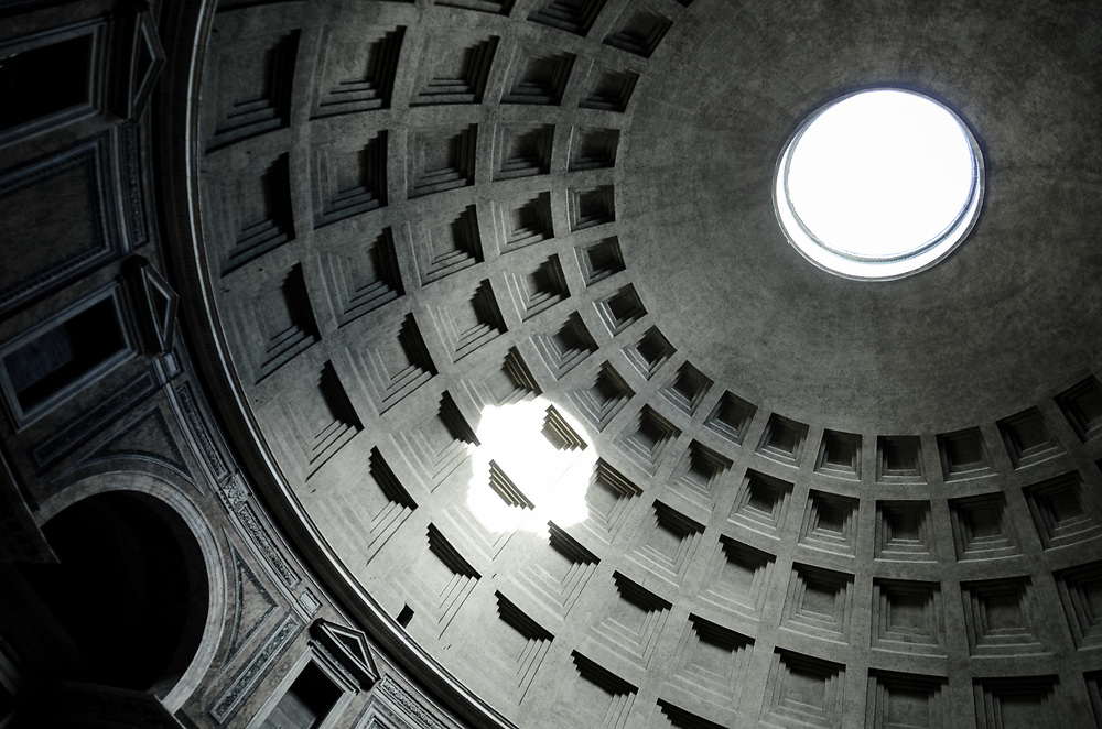 The circular opening at the top of the dome is called an oculus and is open to the sky.