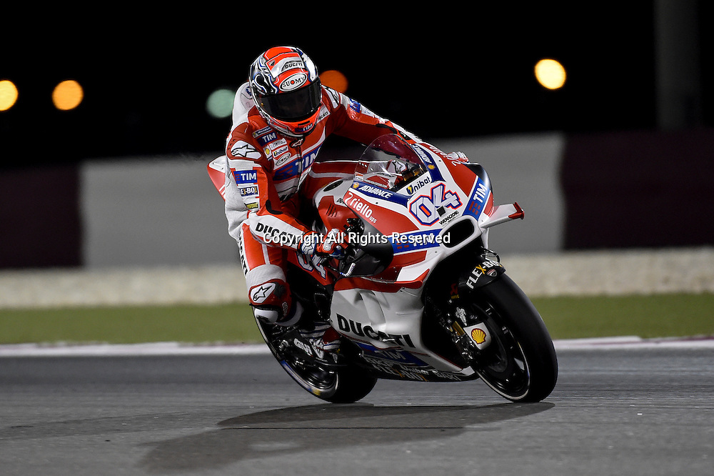 19.03.2016. Losail International Circuit, Doha, Qatar.Commercial Bank Grand Prix of Qatar.  Andrea Dovizioso (Ducati team) during the qualifying sessions.