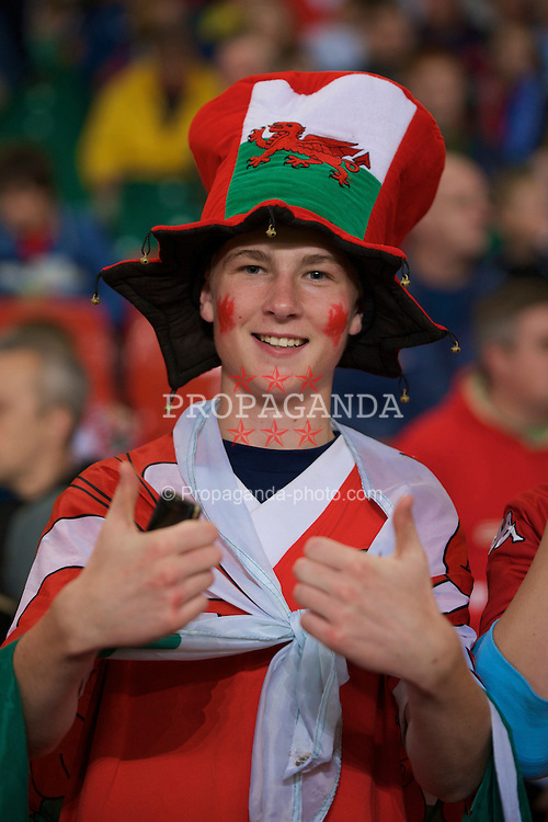CARDIFF, WALES - Friday, September 5, 2008: A Wales supporter during the opening 2010 FIFA World Cup South Africa Qualifying Group 4 match at the Millennium Stadium. (Photo by David Rawcliffe/Propaganda)