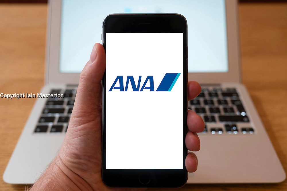 Using iPhone smartphone to display logo of ANA Japanese airline