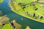 Nederland, Gelderland, Wageningen, 30-09-2015; Zeilboot op de Neder-Rijn ter hoogte van Wageningen. <br /> Sailing boat on lower Rhine.<br /> luchtfoto (toeslag op standard tarieven);<br /> aerial photo (additional fee required);<br /> copyright foto/photo Siebe Swart