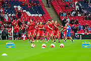 Switzerland players warming up ahead of the UEFA European 2016 Qualifying match between England and Switzerland at Wembley Stadium, London, England on 8 September 2015. Photo by Shane Healey.