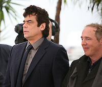 Benicio Del Toro and Director Arnaud Desplechin at the Jimmy P. Psychotherapy of a Plains Indian film photocall at the Cannes Film Festival 18th May 2013