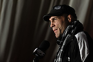 MANCHESTER, ENGLAND, NOVEMBER 12, 2009: Randy Couture addresses the media during the pre-fight press conference for UFC 105 at the MEN Arena in Manchester, England on November 12, 2009.