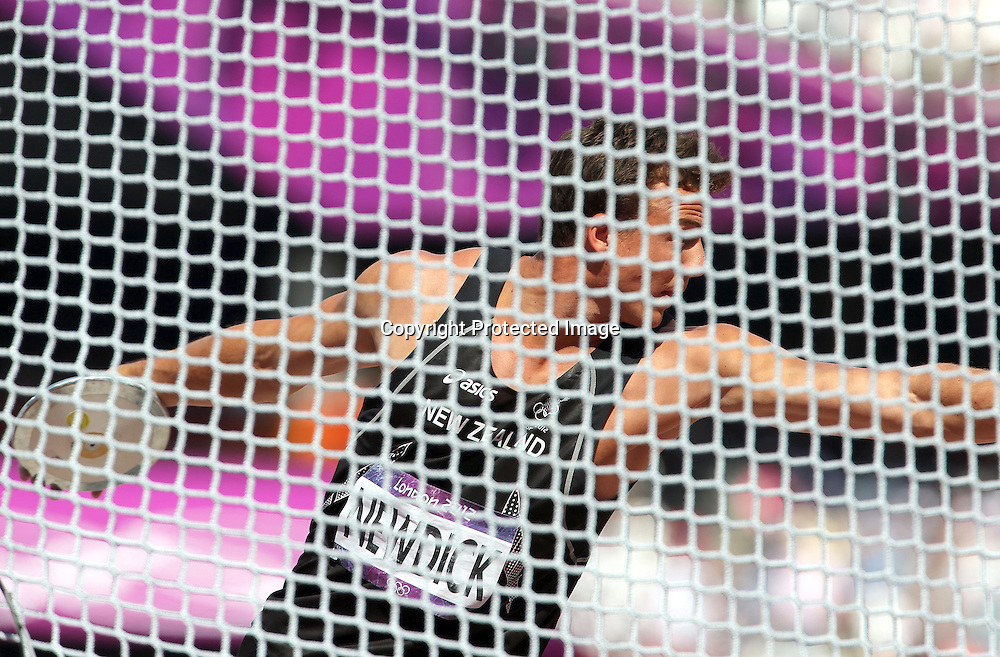 Athletics, London 2012 Olympic Games, Olympic Stadium, London, England 9/8/2012<br /> Men's Decathlon - Discus Throw<br /> New Zealand's Brent Newdick<br /> Mandatory Credit &copy;INPHO/Dan Sheridan