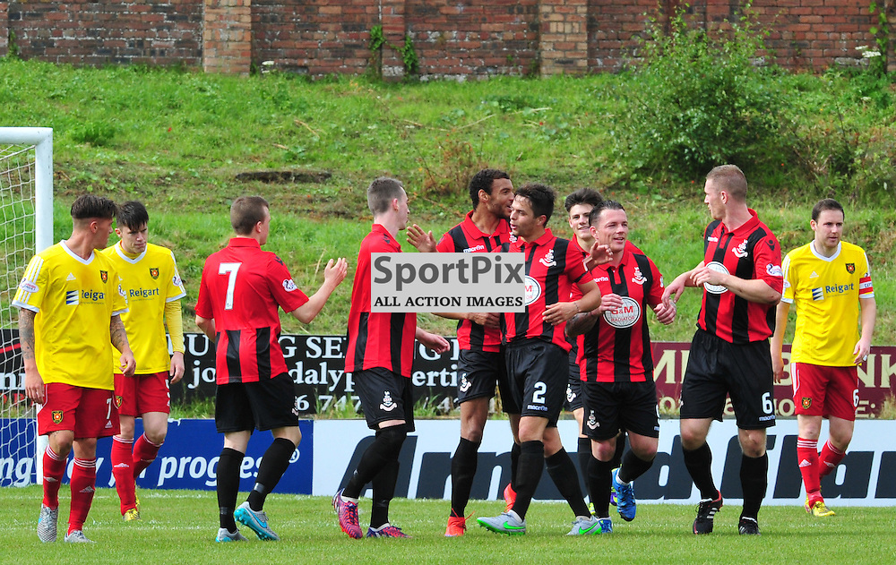 Airdrie players are pleased after an own goal gave them a two goal lead at Cliftonhill....(c) BILLY WHITE | SportPix.org.uk