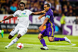 Marcos Morales Tavares #9 of NK Maribor and Kassim Doumbia #20 of FH Hafnarfj?rdur  during 1st Leg football match between NK Maribor (SLO) and FH Hafnarfjordur (ISL) in Third qualifying round of UEFA Champions League 2017/18, July 26, 2017, in Stadium Ljudski vrt, Maribor, Slovenia. Photo by Grega Valancic / Sportida