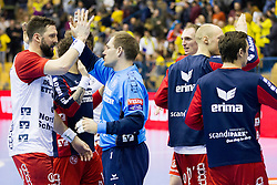 Players of SG Flensburg Handewitt celebrate during handball match between RK Celje Pivovarna Lasko (SLO) and SG Flensburg Handewitt (GER) in 12th Round of EHF Men's Champions League 2015/16, on February 20, 2016 in Arena Zlatorog, Celje, Slovenia. Photo by Urban Urbanc / Sportida