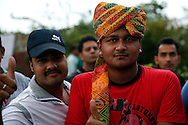 People await outside the stadium before the start of during match 1 of the Karbonn Smart Champions League T20 (CLT20) 2013  between The Rajasthan Royals and the Mumbai Indians held at the Sawai Mansingh Stadium in Jaipur on the 21st September 2013<br /> <br /> Photo by Sandeep Shetty-CLT20-SPORTZPICS  <br /> <br /> Use of this image is subject to the terms and conditions as outlined by the CLT20. These terms can be found by following this link:<br /> <br /> http://sportzpics.photoshelter.com/image/I0000NmDchxxGVv4