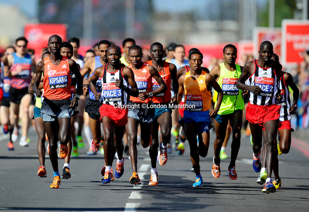 Men's Elite start<br /> The Virgin Money London Marathon 2014<br /> 13 April 2014<br /> Photo: Javier Garcia/Virgin Money London Marathon<br /> media@london-marathon.co.uk
