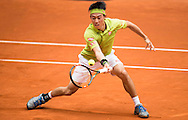 Kei Nishikori during the Madrid Open at Manzanares Park Tennis Centre, Madrid<br /> Picture by EXPA Pictures/Focus Images Ltd 07814482222<br /> 05/05/2016<br /> ***UK & IRELAND ONLY***<br /> EXPA-ESP-160505-0094.jpg
