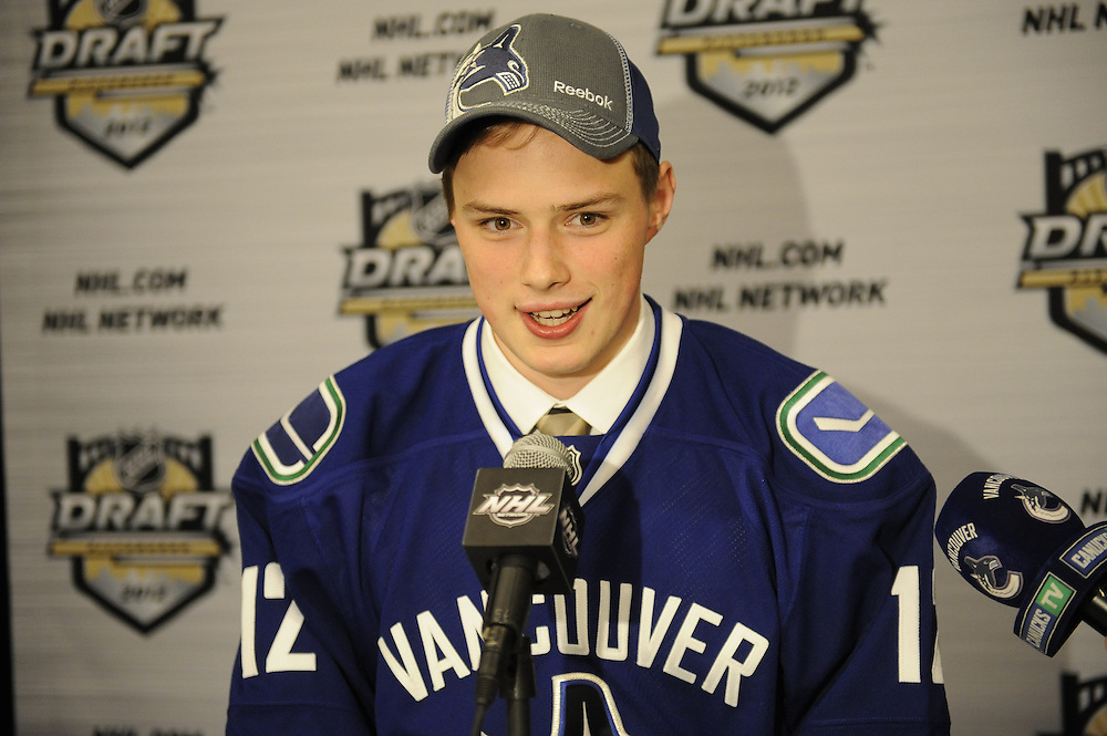 Brendan Gaunce of the Belleville Bulls was a first round pick of the Vancouver Canucks  in the 2012 NHL Entry Draft in Pittsburgh, PA on Friday June 22. Photo by Aaron Bell/CHL Images