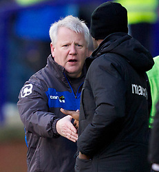 BIRKENHEAD, ENGLAND - Saturday, February 18, 2012: Tranmere Rovers' manager Les Parry and Charlton Athletic's manager Chris Powell after the Football League One match at Prenton Park. (Pic by Vegard Grott/Propaganda)