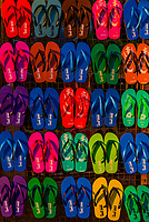 Display of colorful flip flops at outdoor market, Dambulla, Central Province, Sri Lanka.