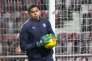 23rd January 2019, Tynecastle Park, Edinburgh, Scotland; Ladbrokes Premiership football, Heart of Midlothian versus Dundee; Seny Dieng of Dundee during the warm up before the match