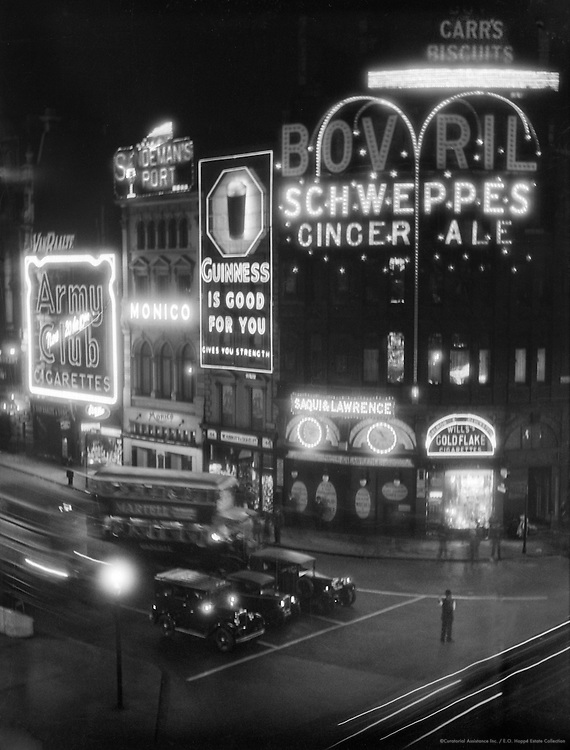 Piccadilly Circus at Night, London, 1933