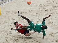 Football - FIFA Beach Soccer World Cup 2006 - Group D - Arg x Nga - Rio de Janeiro - Brazil 02/11/2006<br />Ibenegbu Bartholomew (nga) and Salgueiro (Arg) during the game  Event Title Boad Mandatory Credit: FIFA / Ricardo Moraes
