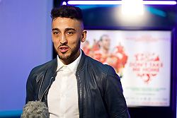 NANTGARW, WALES - Wednesday, March 1, 2017: Wales and Aston Villa player Neil Taylor is interviewed as he attends the premier of Don't Take Me Home - the incredible true story of Wales' Euro 2016 at Showcase Cinema Nantgarw on St. David's Day. (Pic by David Rawcliffe/Propaganda)