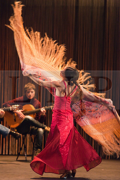 """© Licensed to London News Pictures. 10/02/2012. London, England. Olga Pericet performing in her new solo show """"Rosa, Metal y Ceniza (Rose, Metal and Ash)"""" at Sadler's Wells Theatre during the Flamenco Festival London 2012. Photo credit: Bettina Strenske/LNP"""