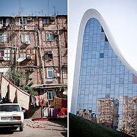 Left:<br /> Baku, Azerbaijan, 24 July 2012<br /> A Nagorno-Karabakh war IDP (internal displaced people) settlement in Baku.<br /> <br /> Right:<br /> Baku, Azerbaijan 26 July 2012<br /> Heydar Aliyev Centre, designed by Zaha Hadid architects.<br /> Photo: Ezequiel Scagnetti