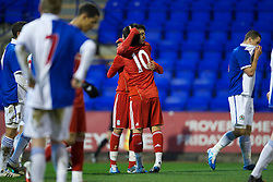 BIRKHENHEAD, ENGLAND - Monday, February 28, 2011: Liverpool's 'Suso' Jesus Fernandez Saez celebrates scoring the first goal against Blackburn Rovers during the FA Premiership Reserves League (Northern Division) match at Prenton Park. (Photo by David Rawcliffe/Propaganda)