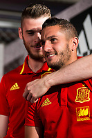 De Gea and Koke Resureccion during the opening of the corner of the Spanish team in its new Adidas Store Gran Vía in Madrid. June 05 2016. (ALTERPHOTOS/Borja B.Hojas)