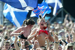 Fans at the main stage on Sunday 10th July, 2005 at the two-day T in the Park festival, at Balado, Kinross-shire, Scotland..