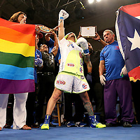 KISSIMMEE, FL - JULY 15: Orlando Cruz reacts during his introduction prior to his fight against Alejandro Valdez at the Kissimmee Civic Center on July 15, 2016 in Kissimmee, Florida. Cruz was the first professional boxer to announce himself as gay and recently lost four friends in the Pulse Nightclub shooting in Orlando, he dedicated this match to his lost friends and won the bout by TKO in the 7th round.  (Photo by Alex Menendez/Getty Images) *** Local Caption *** Orlando Cruz; Alejandro Valdez