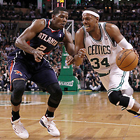 10 May 2012: Boston Celtics small forward Paul Pierce (34) drives past Atlanta Hawks shooting guard Joe Johnson (2) during the Boston Celtics 83-80 victory over the Atlanta Hawks, in Game 6 of the Eastern Conference first-round playoff series, at the TD Banknorth Garden, Boston, Massachusetts, USA.