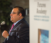 Principal Geovanny Ponce comments during a media conference announcing a partnership between Jones Futures Academy and the Prairie View A&M Nursing School, April 15, 2015.