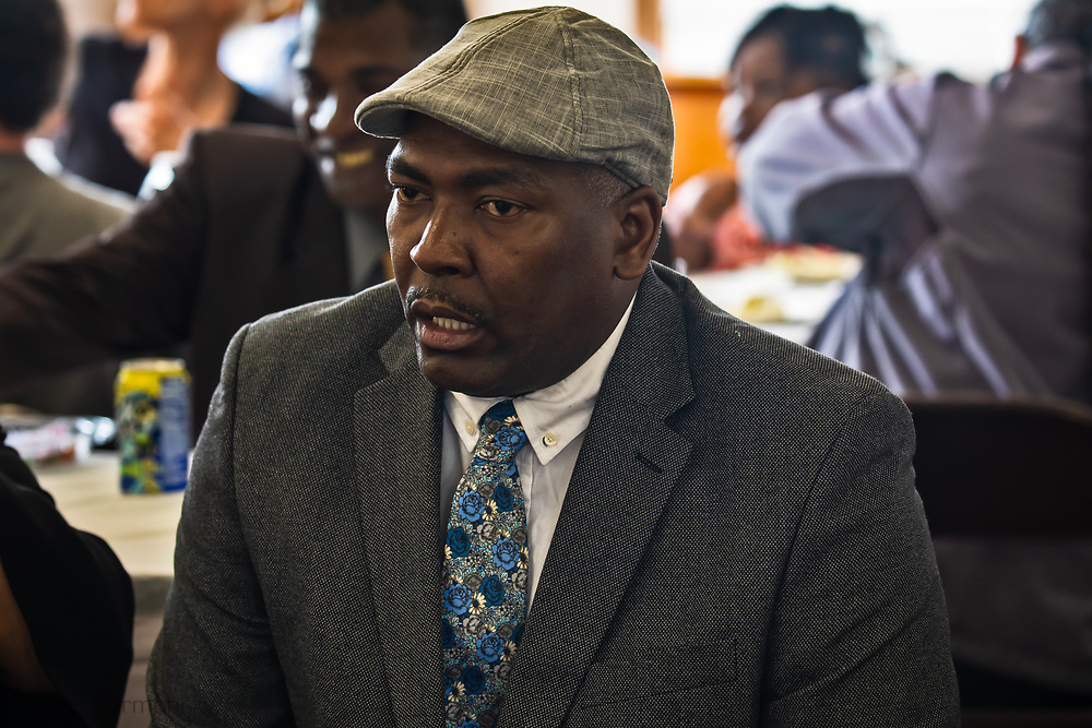 Clyde Cooper, St. James Parish Councileman for the 5th District at a Rise St. James at a meeting held in St. James, where  activist, lawyers, resdients who don't want Formosa to be build near their homes and pastors met to come up with a plan to stop the plant from being built.