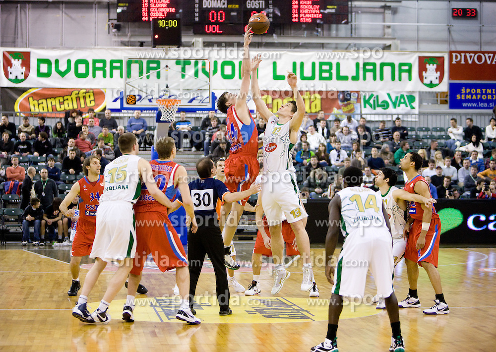 Alexander Kaun of CSKA vs Gasper Vidmar (13) of Olimpija at Euroleague basketball match between KK Union Olimpija, Ljubljana and CSKA Moscow, on January 7, 2010 in Arena Tivoli, Ljubljana, Slovenia. CSKA defeated Olimpija 80:77 after overtime. (Photo by Vid Ponikvar / Sportida)