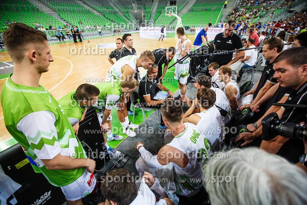 Team Slovenia during qualifying match between Slovenia and Kosovo for European basketball championship 2017,  Arena Stozice, Ljubljana on 31th August, Slovenia. Photo by Grega Valancic / Sportida