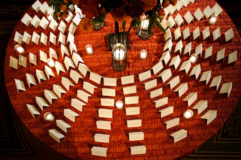 Photo by Matt Roth.Assignment ID: 30116265A..Brooklyn couple Jen Miller and Jason Feifer, both 31, married at the Fairmont Hotel in Washington D.C. Saturday, October 29, 2011. Their escort card table lets their guests know where they're sitting.