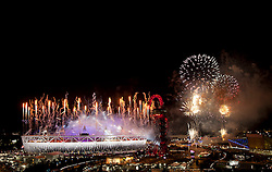 © Licensed to London News Pictures. 12/08/2012. LONDON, UK. Fireworks are seen over the Olympic Stadium during the closing ceremony of the 2012 Summer Olympics in London today (12/08/12). The Games of the 30th Olympiad today come to a close in London after two weeks of athletics and sports competition carried out by 204 countries from around the world. Photo credit: Matt Cetti-Roberts/LNP