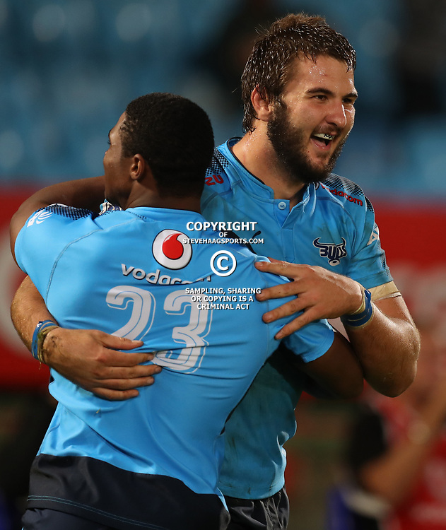 Lood de Jager with Warrick Gelant of the Vodacom Bulls during the Super Rugby match between the Vodacom Bulls and the Jaguares at Loftus Versfeld, Pretoria,South Africa April 15th 2017 Photo by (Steve Haag)