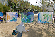 France. Marseille. la Bricarde. painting for children in the suburb. association art et developpement  Marseille  France   / cite la Bricarde. atelier de peinture dans les cites organise par l'association art et developpement   Marseille  France