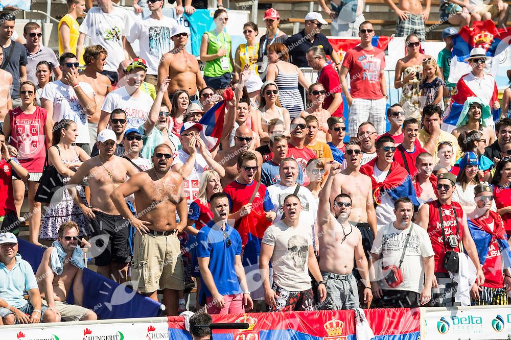 Public<br /> CRO (white) vs SER (blue) Men<br /> LEN European Water Polo Championships 2014 - July 14-27<br /> Alfred Hajos - Swimming Complex<br /> Margitsziget - Margaret Island<br /> Day06 - July 19 <br /> Photo G. Scala/Inside/Deepbluemedia