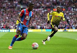 Wilfried Zaha of Crystal Palace runs with the ball - Mandatory by-line: Robbie Stephenson/JMP - 24/04/2016 - FOOTBALL - Wembley Stadium - London, England - Crystal Palace v Watford - The Emirates FA Cup Semi-Final