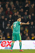 Watford forward Troy Deeney (9) pointing, directing, signalling during The FA Cup 5th round match between Queens Park Rangers and Watford at the Loftus Road Stadium, London, England on 15 February 2019.