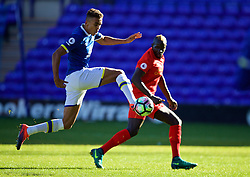 BIRKENHEAD, ENGLAND - Sunday, October 23, 2016: Everton's Dominic Calvert Lewin and Liverpool's Mamadou Sakho during the Mini-Derby FA Premier League 2 Under-23 match at Prenton Park. (Pic by David Rawcliffe/Propaganda)